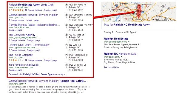 Example of Google Local 7 Pack