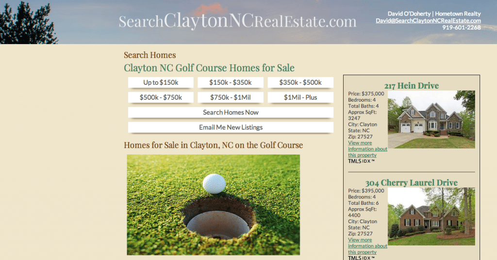 Search Clayton NC Golf Course Properties