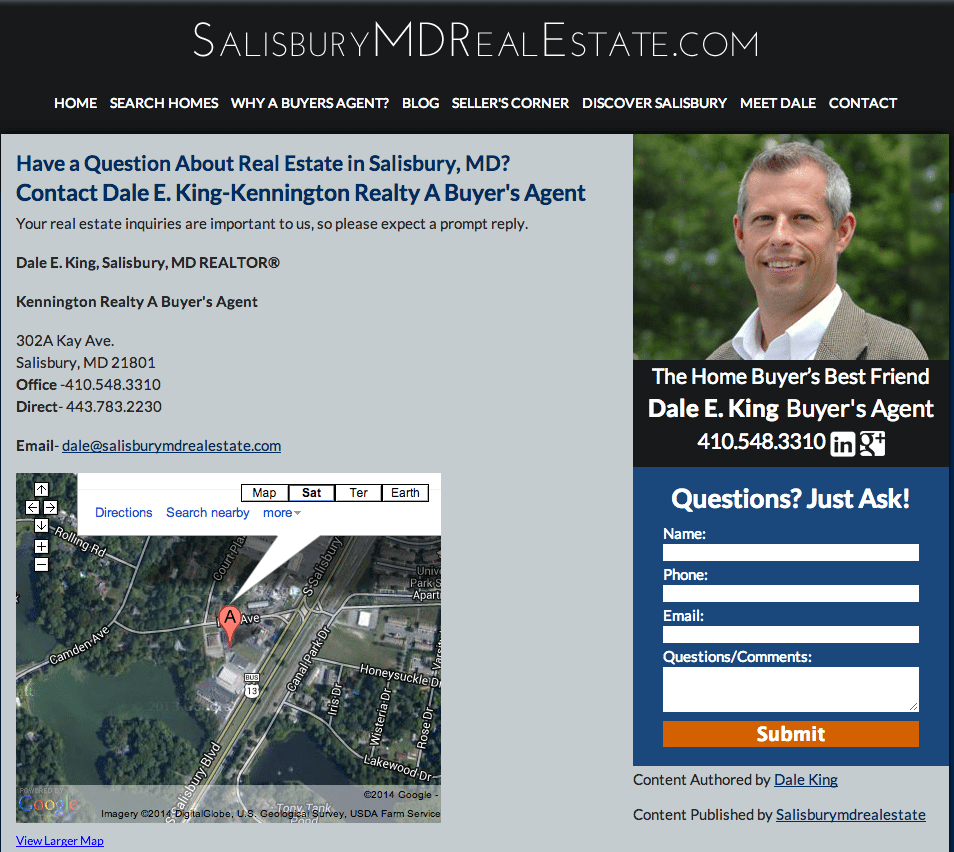 Contact Page with Google local Map for Dale King Salisbury MD REALTOR