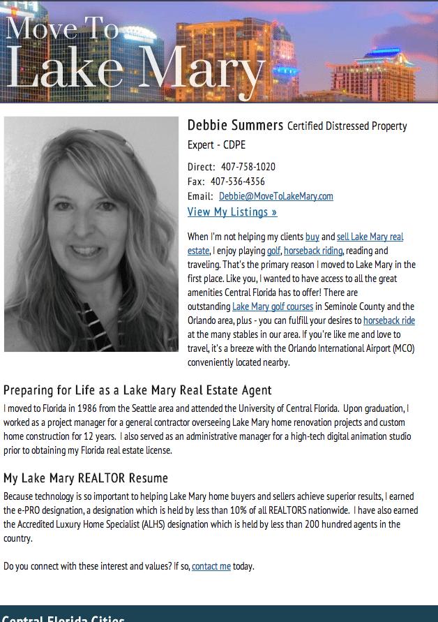 Meet Lake Mary, FL Realtor Debbie Summers