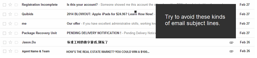 Examples of Spam Email Subject Lines