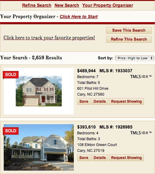 Results show sold properties with a red sold ribbon on the image