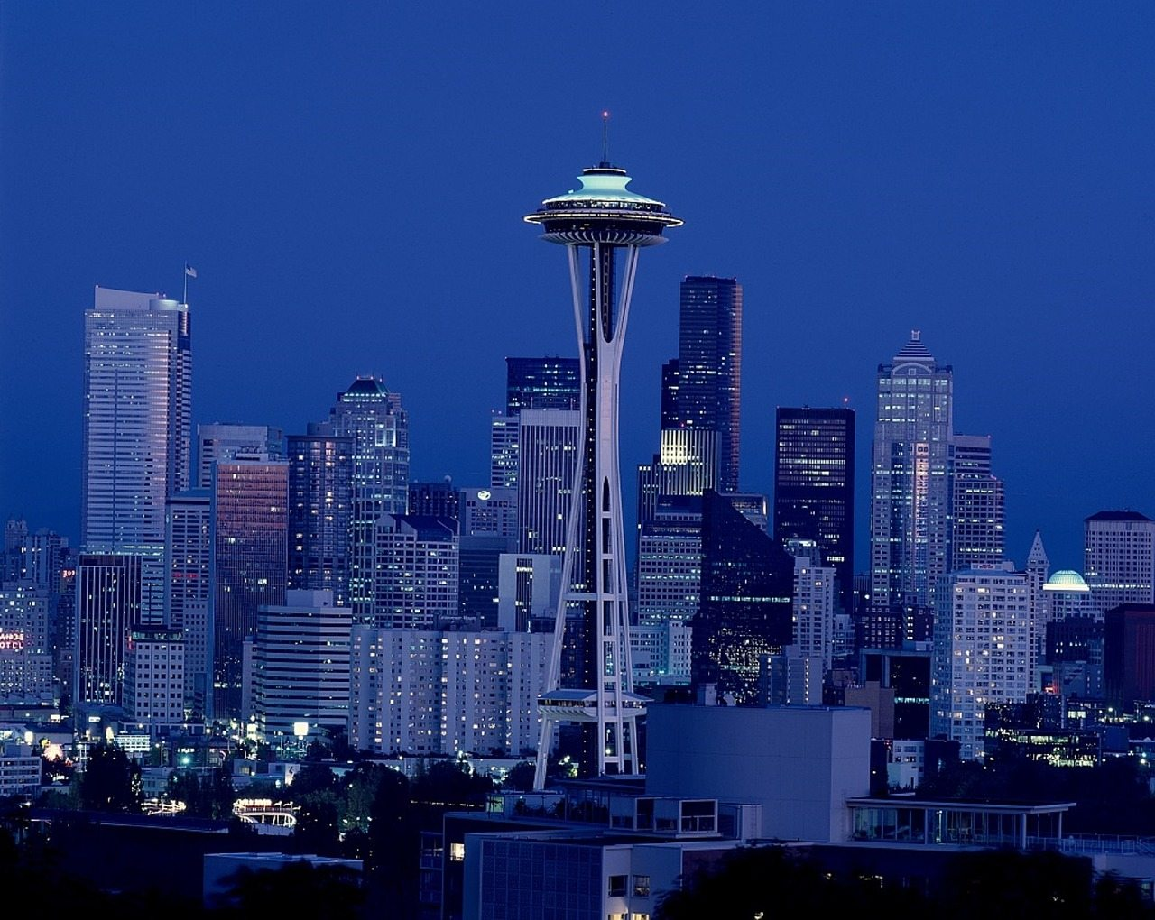space needle and Seattle skyline