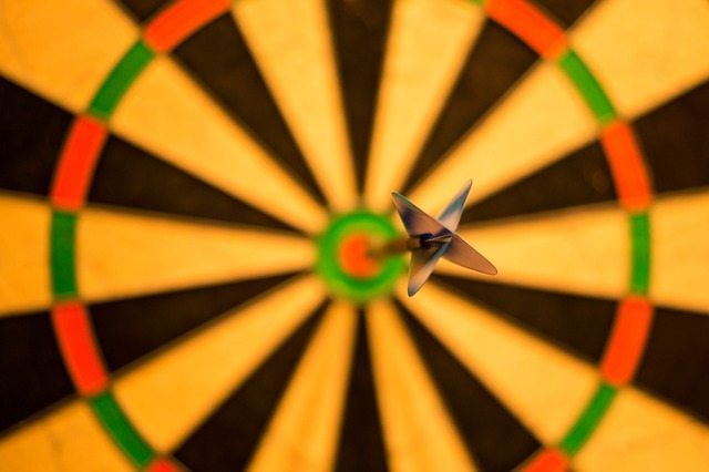 dart at the center of a target