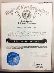Bobby Carroll North Carolina Real Estate License