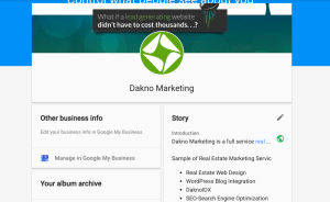 Dakno marketing google business about page