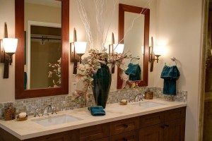 beautiful bathroom with dual vanities