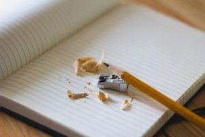 pencil shavings on notebook