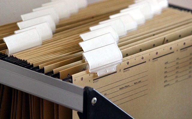 a file of brown hanging tab files