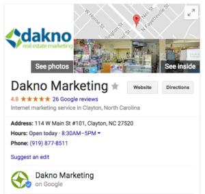 dakno marketing business listing on google