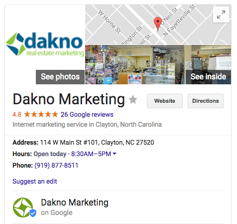 dakno marketing business listing on google