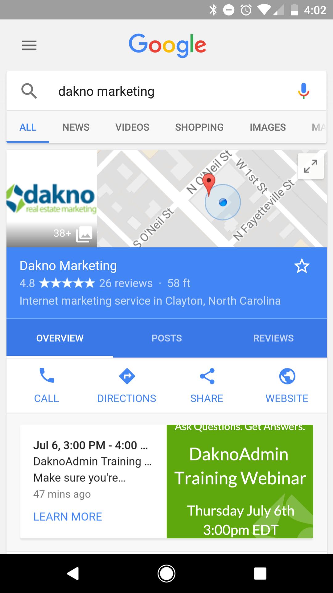 screenshot of dakno marketing's google card showing the new google post