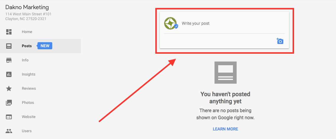 a screenshot showing where the write your post section is in google posts