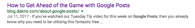 a screenshot of a google listing that shows a good example of a meta description and title tag
