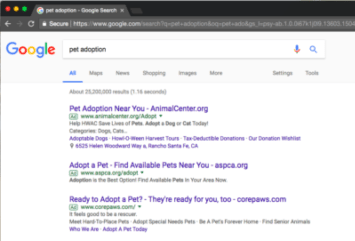Adwords Ads on Google Search Results Page