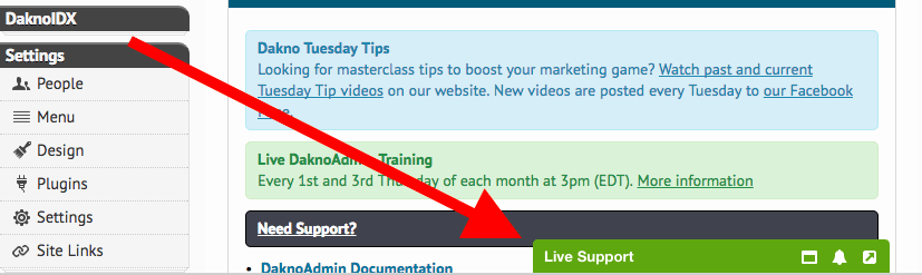 a screenshot of the daknoadmin dashboard with a red arrow pointing to a green bar that reads live support.