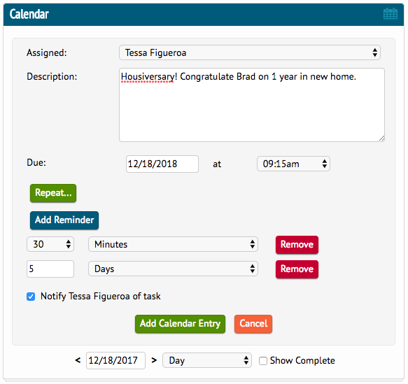 a screenshot of the calendar reminder section of DaknoAdmin.