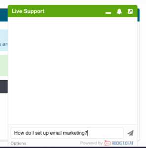 a chat box featuring the question how do i set up email marketing