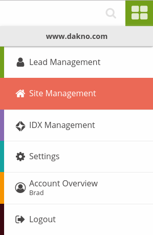 The redesigned Dakno Admin site navigation menu.