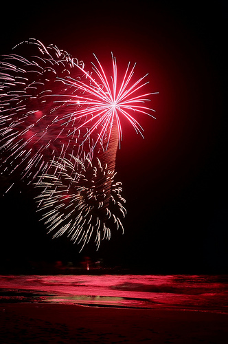 Fireworks Light Up the Beach of Emerald Isle