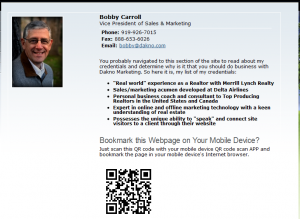 Dakno staff page for Bobby Carroll